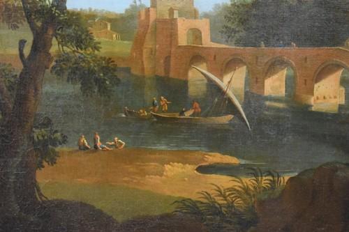 Louis XV - 18th, Roman Follower of Paolo Anesi, Roman Landscape With Milvio Bridge