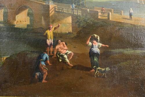 Antiquités - 18th, Roman Follower of Paolo Anesi, Roman Landscape With Milvio Bridge