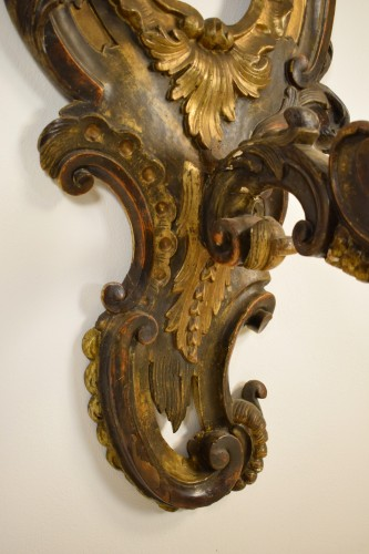 Antiquités - 18th Century, Pair of large italian carved and gilded wood applique