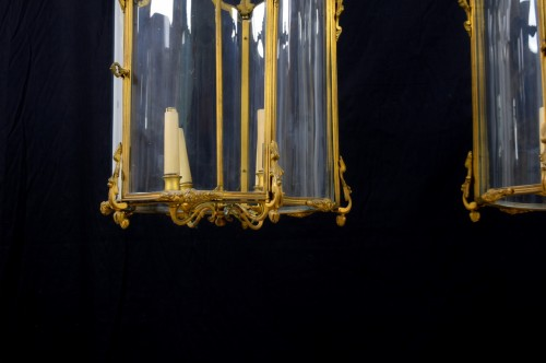 Lighting  - 19th Century, Pair Franch Gilt Bronze and Shaped Glass Lanterns