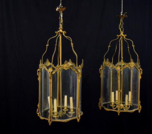 19th century - 19th Century, Pair Franch Gilt Bronze and Shaped Glass Lanterns