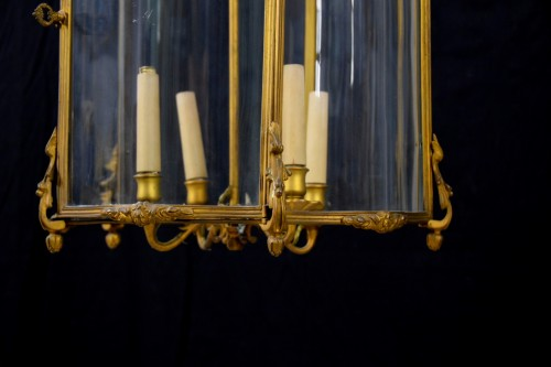 - 19th Century, Pair Franch Gilt Bronze and Shaped Glass Lanterns