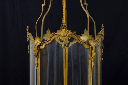 Antiquités - 19th Century, Pair Franch Gilt Bronze and Shaped Glass Lanterns