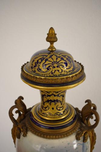 19th Large Ormolu Mounted Sèvres Stile Porcelain Cobalt-Blue Vase and Cover -