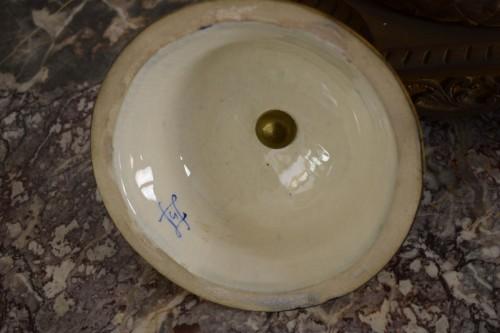- 19th Large Ormolu Mounted Sèvres Stile Porcelain Cobalt-Blue Vase and Cover