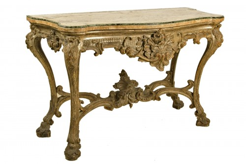 18th Century, Italian Carved and Silvered Wood Consolle