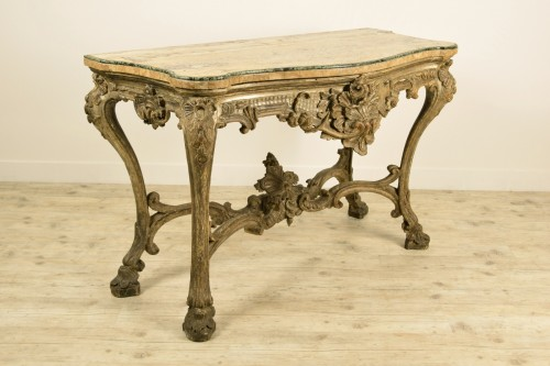 Furniture  - 18th Century, Italian Carved and Silvered Wood Consolle