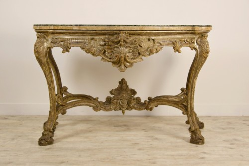18th Century, Italian Carved and Silvered Wood Consolle -