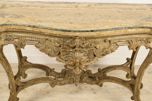 18th century - 18th Century, Italian Carved and Silvered Wood Consolle