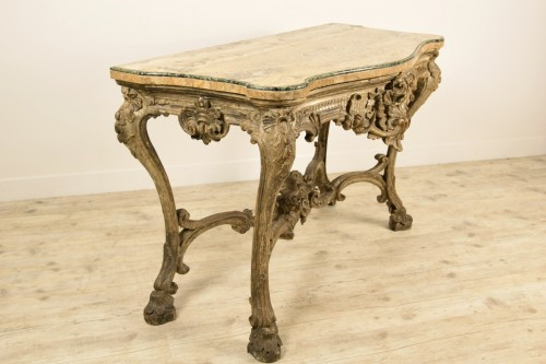 18th Century, Italian Carved and Silvered Wood Consolle - Louis XIV