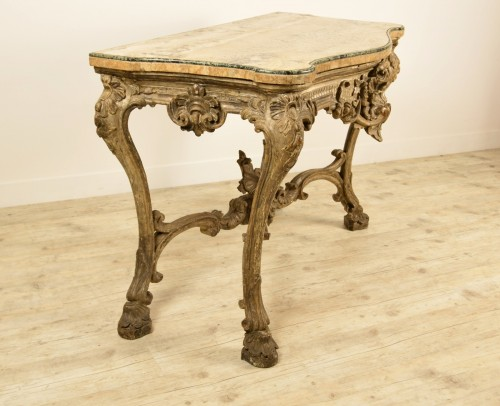 Louis XIV - 18th Century, Italian Carved and Silvered Wood Consolle