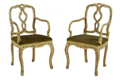 18th Century, Pair of venetian lacquered and gilded wood armchairs