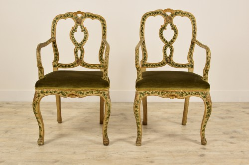 18th Century, Pair of venetian lacquered and gilded wood armchairs - Seating Style Louis XV