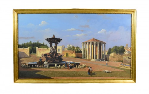19th Century, Oil on Canvas, Italian View of the forum Boario of Rome