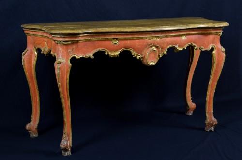 Furniture  -  18th Century, Italian Baroque Wood Laquered Consolle