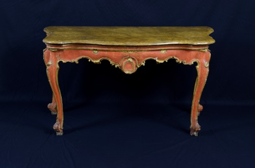 18th century -  18th Century, Italian Baroque Wood Laquered Consolle