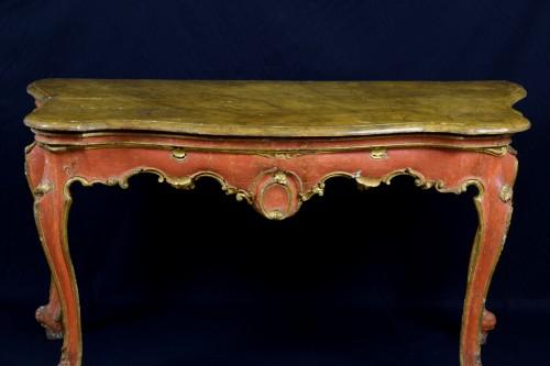 Antiquités -  18th Century, Italian Baroque Wood Laquered Consolle