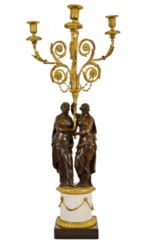 18th Century, French Bronze Three-light Candelabra with female figures
