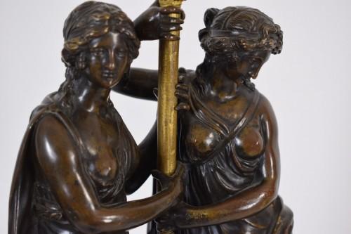Lighting  - 18th Century, French Bronze Three-light Candelabra with female figures