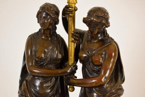 18th century - 18th Century, French Bronze Three-light Candelabra with female figures