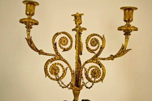 Antiquités - 18th Century, French Bronze Three-light Candelabra with female figures