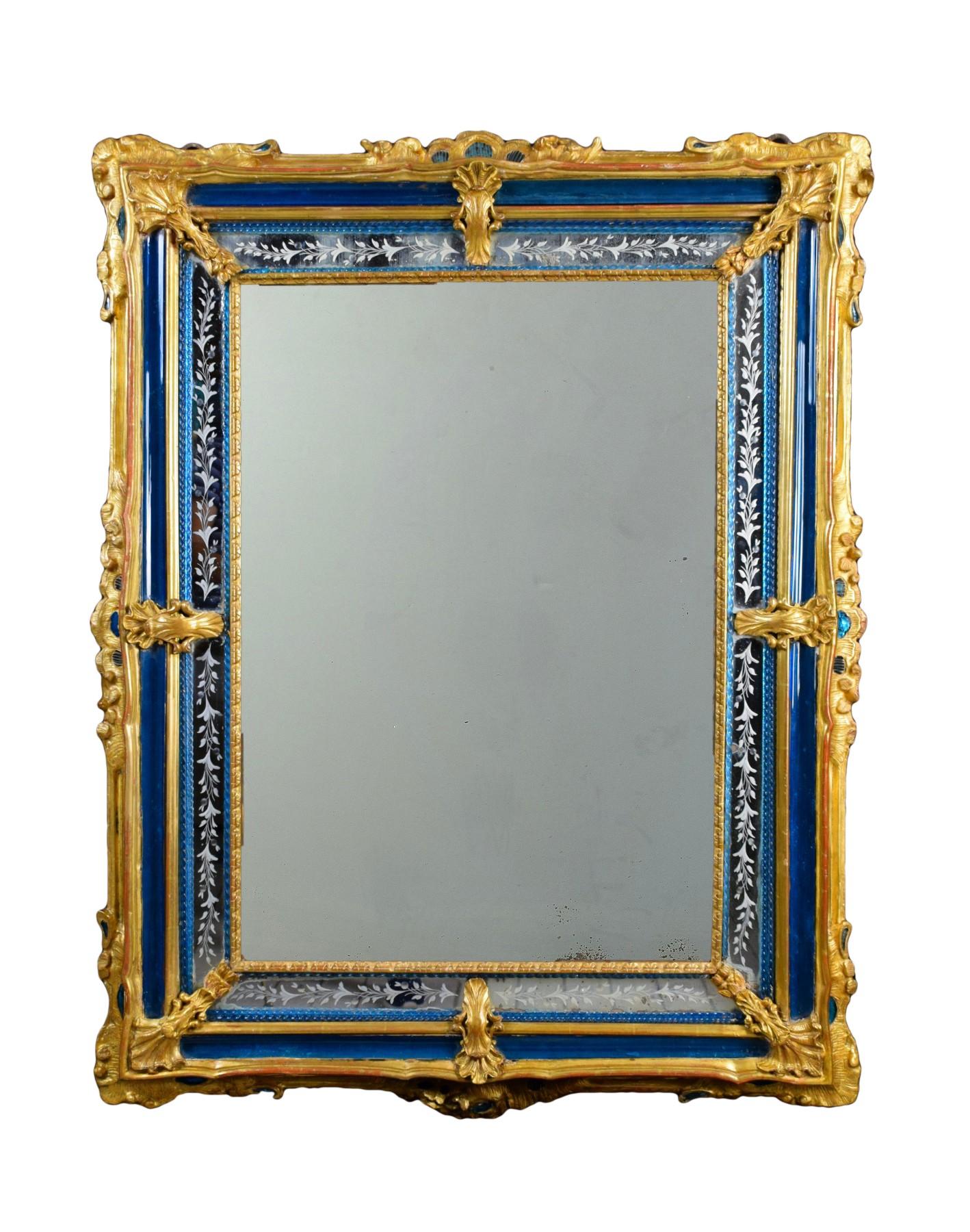 18th Century Venetian Wall Mirror Gilt Wood And Blu Murano Glass Ref 78828