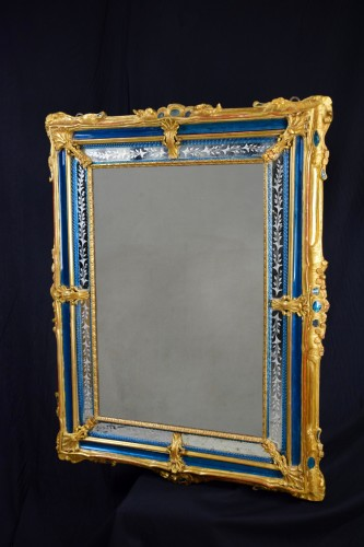 Antiquités - 18th Century venetian wall mirror, gilt wood and blu Murano glass