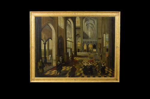 17th Century, Flemish oil painting with the Interior of Antwerp Cathedral - Paintings & Drawings Style Louis XV