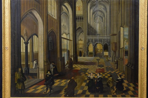 Paintings & Drawings  - 17th Century, Flemish oil painting with the Interior of Antwerp Cathedral