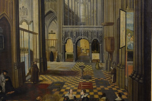17th century - 17th Century, Flemish oil painting with the Interior of Antwerp Cathedral