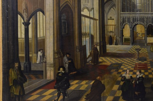 Antiquités - 17th Century, Flemish oil painting with the Interior of Antwerp Cathedral