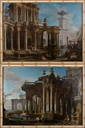 Couple of paintings depicting Capricci by Francesco Aviani (1662 - 1715)