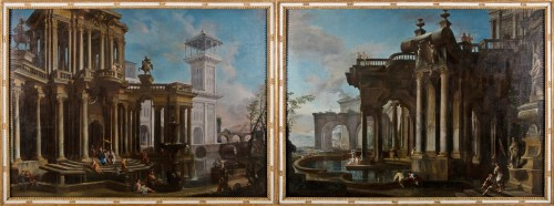 Couple of paintings depicting Capricci by Francesco Aviani (1662 - 1715) - Paintings & Drawings Style
