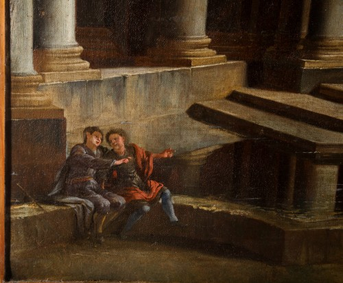 Couple of paintings depicting Capricci by Francesco Aviani (1662 - 1715) -