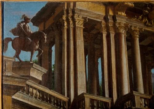 Antiquités - Couple of paintings depicting Capricci by Francesco Aviani (1662 - 1715)