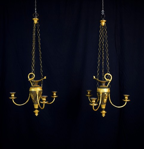 Antiquités - 18th Century, Italian lacquered wood and gilded pastiglia chandeliers