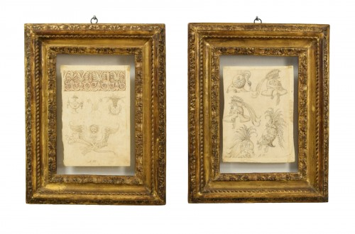 17th Century, Pair of italian ink drawings on paper with studies
