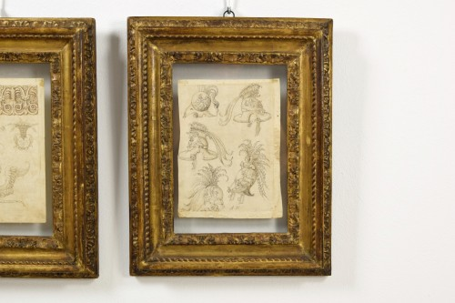 17th Century, Pair of italian ink drawings on paper with studies  -