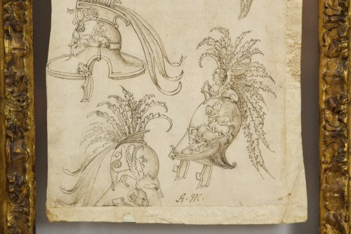 17th Century, Pair of italian ink drawings on paper with studies  - Louis XIV