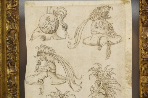 Antiquités - 17th Century, Pair of italian ink drawings on paper with studies