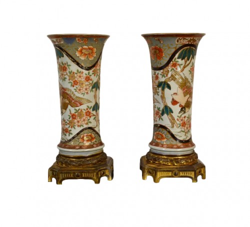 19th century pair of polychrome Imari porcelain vases on gilt bronze bases