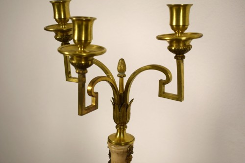 Pair of neoclassical gilt bronze and alabaster three lights candelabrum - Louis XVI