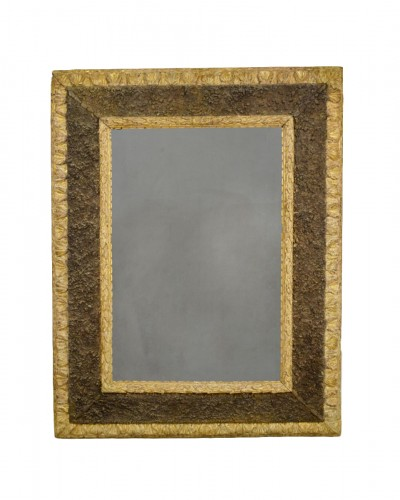 17th Century, Italian Carved Gilt Wood Mirror With Small Stones