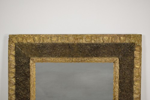 Mirrors, Trumeau  - 17th Century, Italian Carved Gilt Wood Mirror With Small Stones