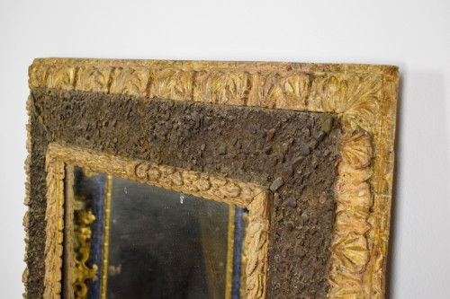 17th Century, Italian Carved Gilt Wood Mirror With Small Stones -