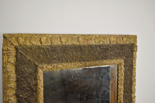 - 17th Century, Italian Carved Gilt Wood Mirror With Small Stones