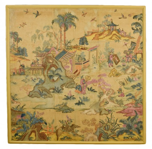 Italian Polychrome Tempera on Paper Chinoiserie Painting