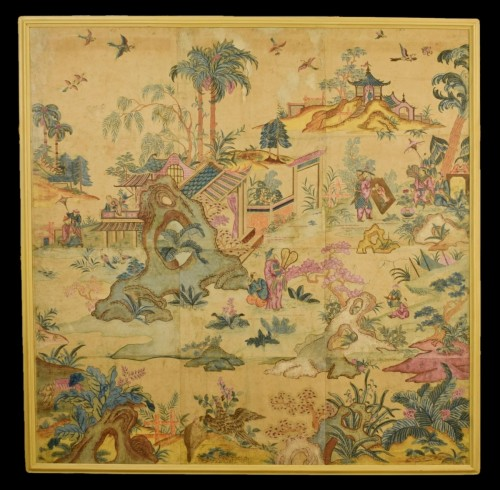 Italian Polychrome Tempera on Paper Chinoiserie Painting - Paintings & Drawings Style