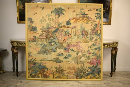 Paintings & Drawings  - Italian Polychrome Tempera on Paper Chinoiserie Painting