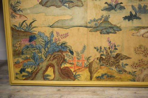 18th century - Italian Polychrome Tempera on Paper Chinoiserie Painting